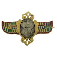 Antique Scarab and Enamel 18K Gold Signed Brooch