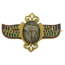 Antique Scarab and Enamel 18K Gold Signed Brooch