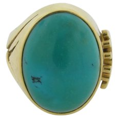 Signed George Brooks 18K Gold Large Cabochon Turquoise Ring