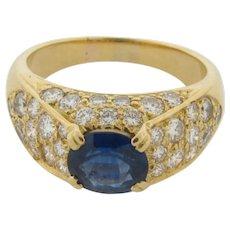 Superb 1-1/2 Carat Sapphire 1 Carat G Color VS Diamonds Marked CV 750 Gold Ring
