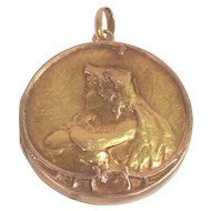Beautiful Art Nouveau Antique 18K Gold Locket Semi Nude Lady Long Flowing Hair