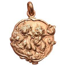 Superb 18K Gold Art Nouveau Locket Nude Lady Kissing a Cherub
