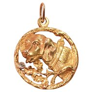 Beautiful 18K Gold Sculptured Dog Head Diamond Accent Art Deco Pendant