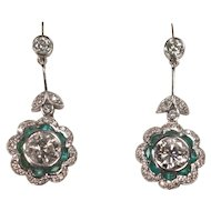 Pair of Platinum Diamonds and Emeralds Dangling Earrings Full Cut 2 Carats Plus
