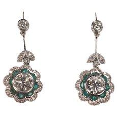 Pair of Platinum Diamonds and Emeralds Dangling Earrings Full Cut 2 Carats Plus