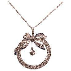 Beautiful Vintage Four Carats Diamonds Platinum Sapphires Necklace