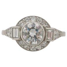 Beautiful Art Deco Design Platinum 1.10 Carat Center Diamond Engagement Ring