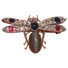 Antique 18K Gold Platinum Gem Cats Eye Diamonds Rubies Sapphires Insect Brooch