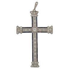 Superb Antique Art Nouveau Platinum Diamonds Sapphires Pendant Cross