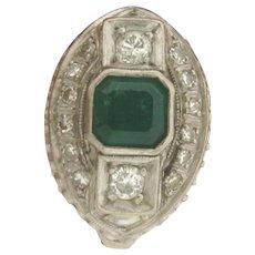 Original Art Deco Circa 1920 Platinum Emerald Diamonds Ring