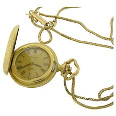 18K Gold Antique Ladies Hunting Case Watch & Antique 14K Gold 30 Inch Necklace