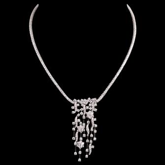 Exquisite Leo Pizzo 9.93 Carats Diamonds G-H Color VS1 Clarity 18K Necklace