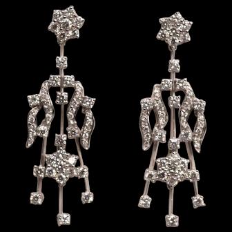 Exquisite Leo Pizzo 3.6 Carat Diamonds GH Color VS1 Clarity Earrings 18K WG