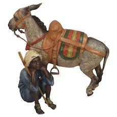 Superb Antique Bergman Vienna Bronze Seated Boy With Donkey