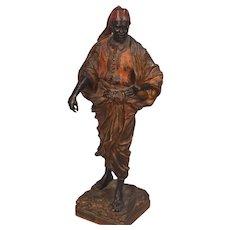 Antique Vienna Bronze Standing Man Marked Geschutzt