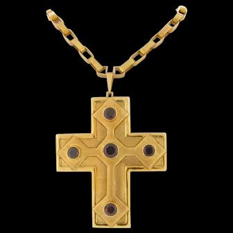 Unique Vintage Burle Marx & Bruno Guidi 18K Garnet Yellow Gold Cross & Chain 83 Grams
