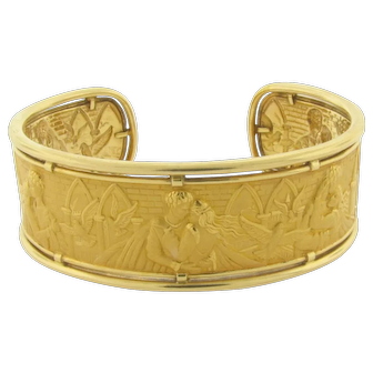Beautiful Carrera Y Carrera 'Romeo and Juliette' 18K Yellow Gold Cuff Bracelet
