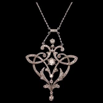 Antique Art Nouveau Platinum Diamonds Necklace 2.90 Carats Diamonds TCW