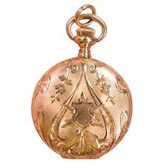 Antique Art Nouveau Elgin Ladies 14K Gold Hunting Case Pendant Watch