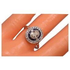 Beautiful Vintage Art Deco Design .80 C Center Oval Diamond Sapphires Diamonds Halo Ring