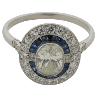 Beautiful Art Deco Design .80 C Center Oval Diamond Sapphires Diamonds Halo Ring