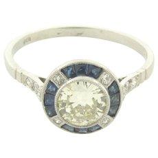 Beautiful Vintage .67 Carat Old European Center Diamond Sapphires Ring