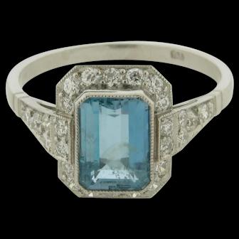 Art Deco Platinum Diamonds Emerald Cut 1.25 Carat Aquamarine Ring