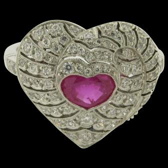 Superb 1.66 Carat Diamonds Gem Natural .85 Heart Shaped Ruby Art Deco Ring