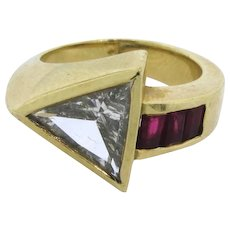 Retro Vintage Ruby 1.50 C Diamond  Arrow Design 18k Gold Ring