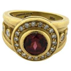 Kieselstein Cord Marie Theresa Rhodolite Garnet Diamond 18K Yellow Gold Ring