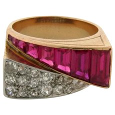Retro Vintage Ruby Diamond 18K Yellow Gold Bypass Ring