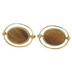 Carolyn Morris Bach Designer cabochon Tigers Eye 22k Gold Earrings