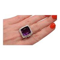Exquisite 16.17 Gem Amethyst 44 Diamonds Platinum Art Deco Ring