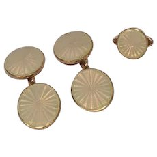 Exquisite Pair of Antique Enamel 18k Gold Cufflinks With Matching Button