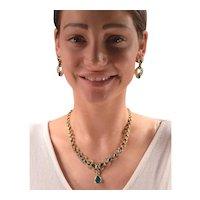Exquisite Vintage Natural Emeralds Diamonds 18k Gold Necklace & Earrings Set