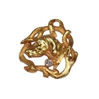 Exquisite Art Deco 18k Gold & Diamond Dog Head Pendant Brooch