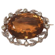 Superb Art Deco 18k Platinum Set Diamonds & Huge Gem Citrine Brooch