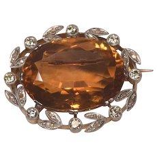 Superb Art Deco 18k Platinum Set Diamonds & Huge Gem Citrine Brooch