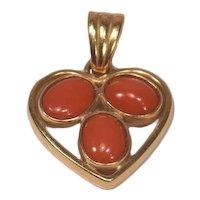 Unique 18k Gold & 3 Cabochon Coral Heart Shaped Pendant