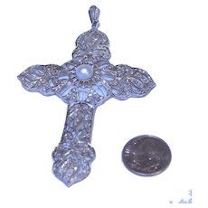 Antique Art Nouveau Platinum 207 Diamonds Lustrous 7mm Pearl Pendant Cross