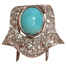 Unique Antique 39 Diamonds 1 Gem Turquoise Platinum Brooch Clip