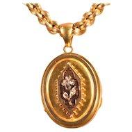 Beautiful 18k Chain & Lovely Diamond Decorated 18k Gold Locket