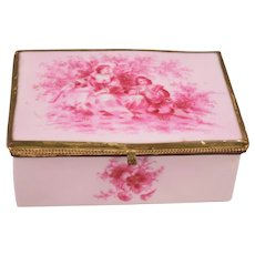 Large Hand-Painted French Porcelain Jewelry Box