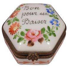 Vintage 6 Sided Limoges Porcelain Floral Pill Box Good For a Kiss