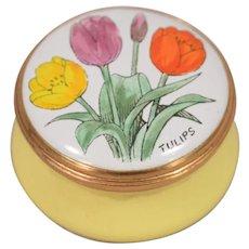 Beautiful Vintage Tulip Decorated Gilt Metal Rim Lift Off Top Crummles Pill Box