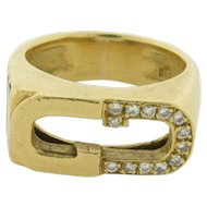 Vintage Signed Gucci Italy 18K Gold 13 Diamonds Enamel Ring Size 6 weight 12 gms