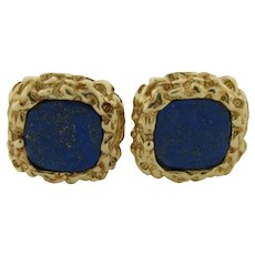 Beautiful Lapis Marked 14K Gold Nugget Design Cufflinks 18.3 Grams Excellent