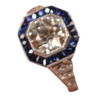 1.54 Carat Old Cut Vintage Diamond Ring Sapphires With 8 Additional Diamonds