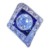 1.67 Vintage Old Mine Cut Center Diamond Sapphires Diamonds Platinum Ring