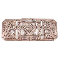 18k Gold & Platinum 36 Diamonds Art Deco Brooch
